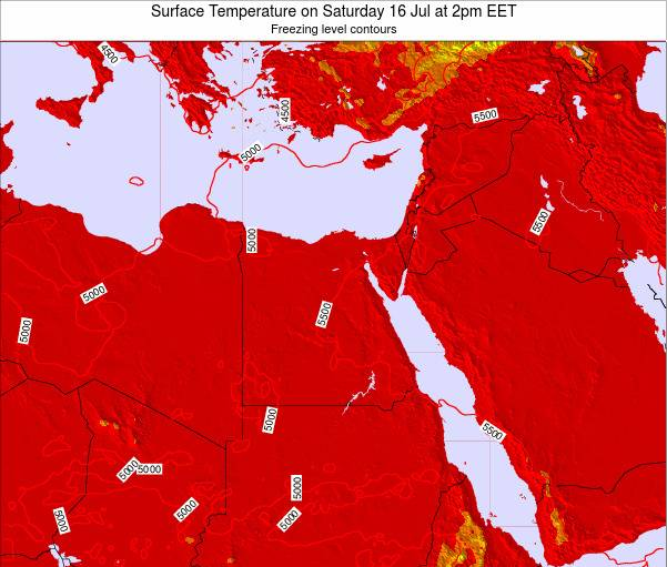 Egypt Surface Temperature on Thursday 24 Jul at 2pm EET map