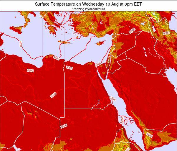 Egypt Surface Temperature on Monday 24 Jun at 2pm EET map