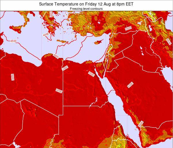 Egypt Surface Temperature on Sunday 26 May at 8am EET map