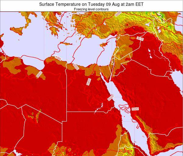 Egypt Surface Temperature on Sunday 26 May at 2pm EET map