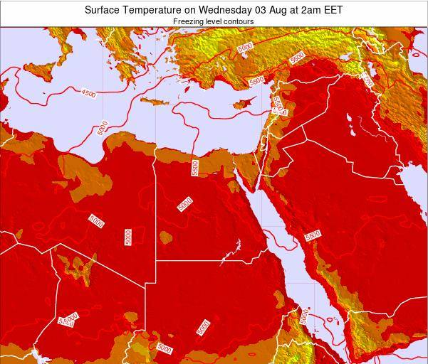 Egypt Surface Temperature on Tuesday 21 May at 2am EET map