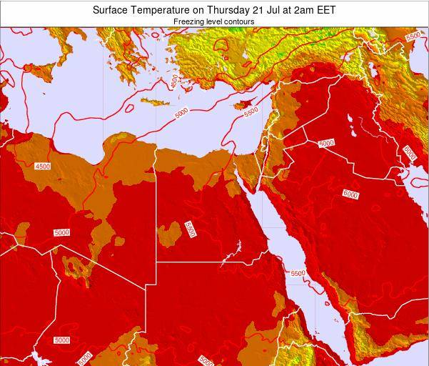 Egypt Surface Temperature on Thursday 20 Jun at 2am EET map