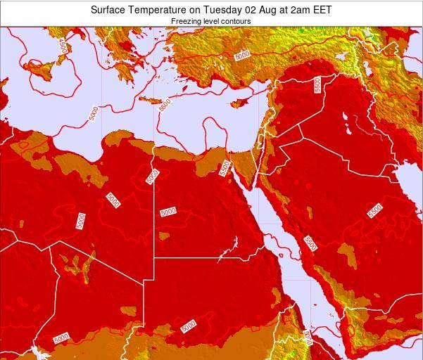 Egypt Surface Temperature on Wednesday 22 May at 2pm EET map