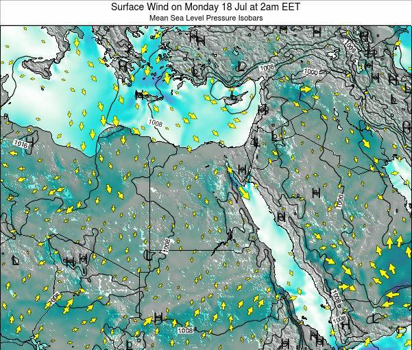 Egypt Surface Wind on Wednesday 22 May at 8pm EET map