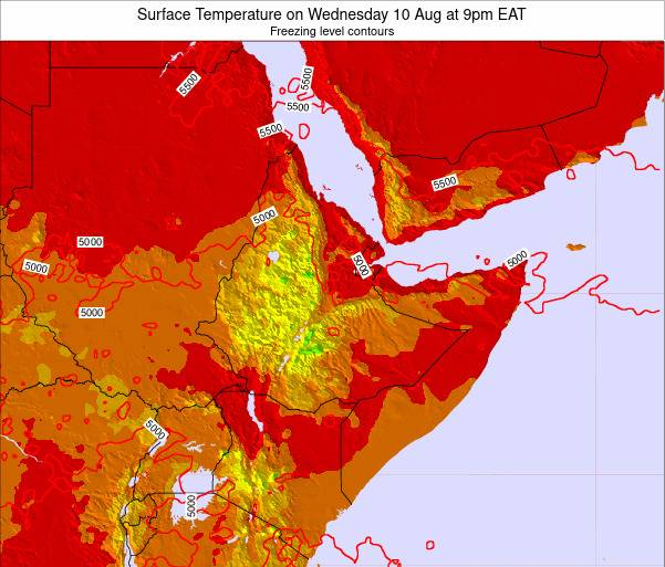 Djibouti Surface Temperature on Wednesday 29 May at 9pm EAT map