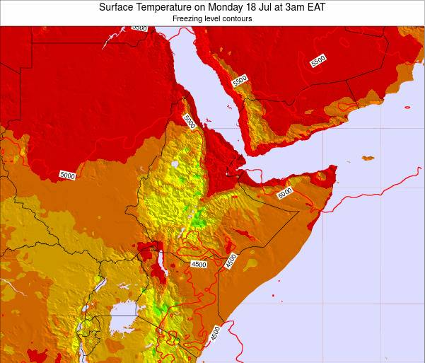 Yemen Surface Temperature on Monday 27 May at 3pm EAT map