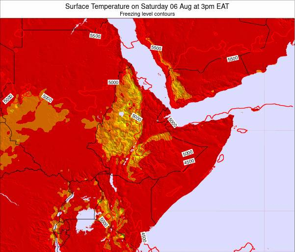 Djibouti Surface Temperature on Thursday 30 May at 3am EAT map
