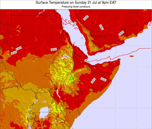 Djibouti Surface Temperature on Saturday 25 May at 3pm EAT map