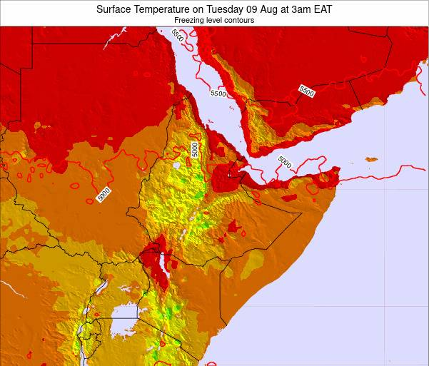 Yemen Surface Temperature on Sunday 19 May at 3am EAT map