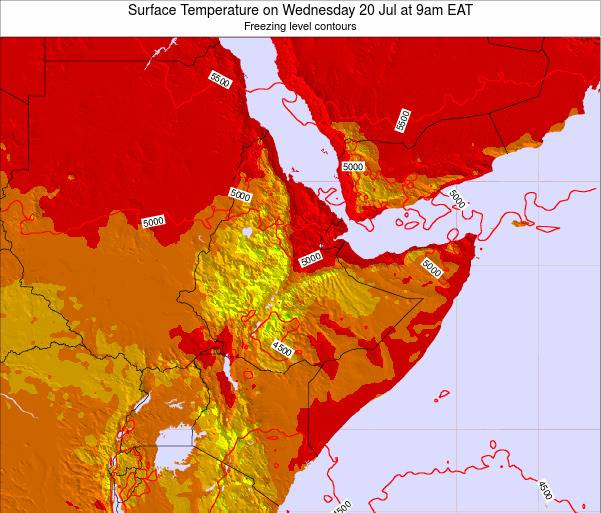 Yemen Surface Temperature on Friday 24 May at 9pm EAT map