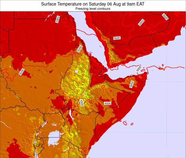 Djibouti Surface Temperature on Wednesday 22 May at 3pm EAT map