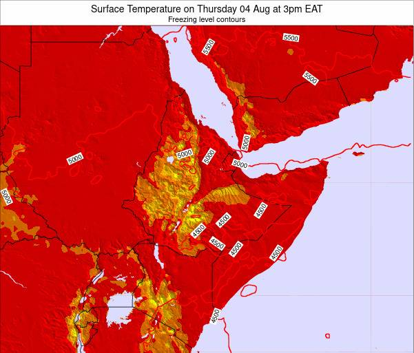 Ethiopia Surface Temperature on Saturday 22 Sep at 9pm EAT map