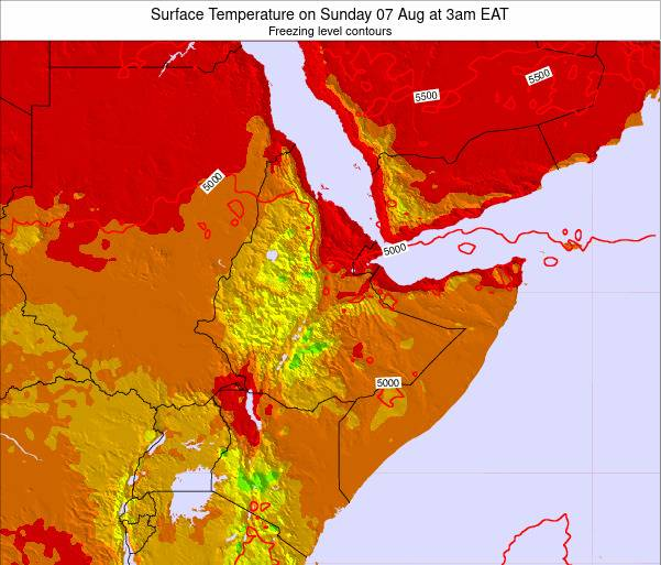 Yemen Surface Temperature on Monday 20 May at 9pm EAT map