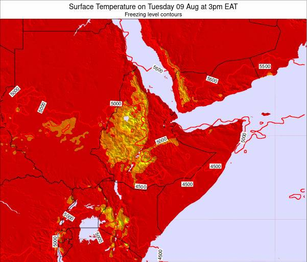 Djibouti Surface Temperature on Tuesday 28 May at 3am EAT map