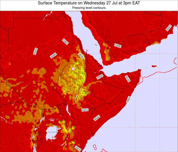 Djibouti Surface Temperature on Monday 27 May at 9am EAT map