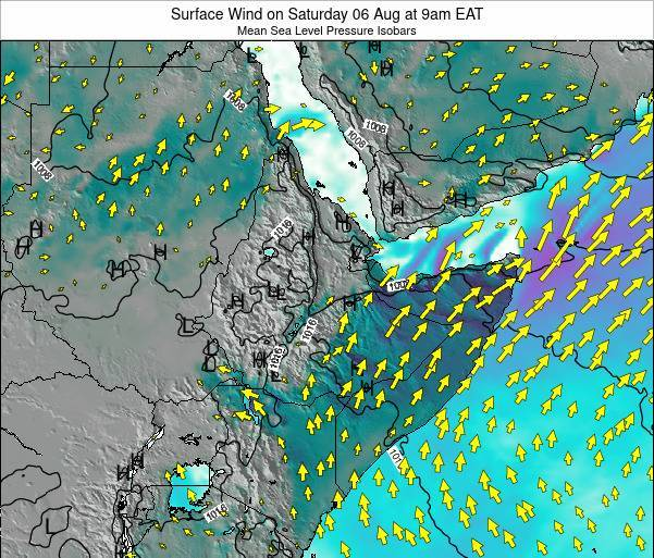 Ethiopia Surface Wind on Wednesday 22 May at 9am EAT map