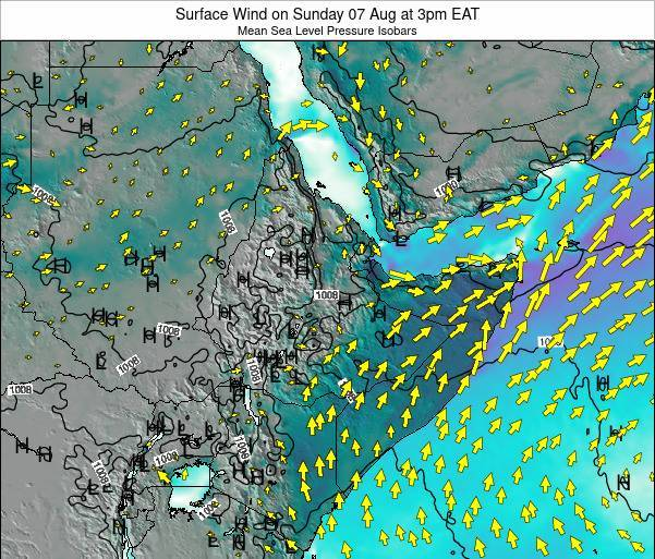 Ethiopia Surface Wind on Sunday 26 May at 3pm EAT map
