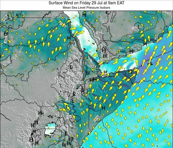 Ethiopia Surface Wind on Thursday 23 May at 9pm EAT map