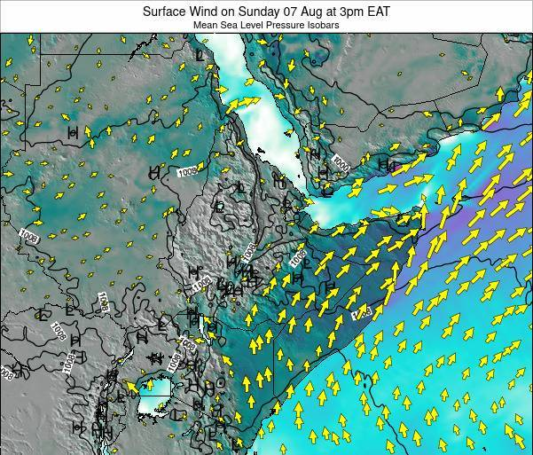 Ethiopia Surface Wind on Sunday 26 May at 9pm EAT map