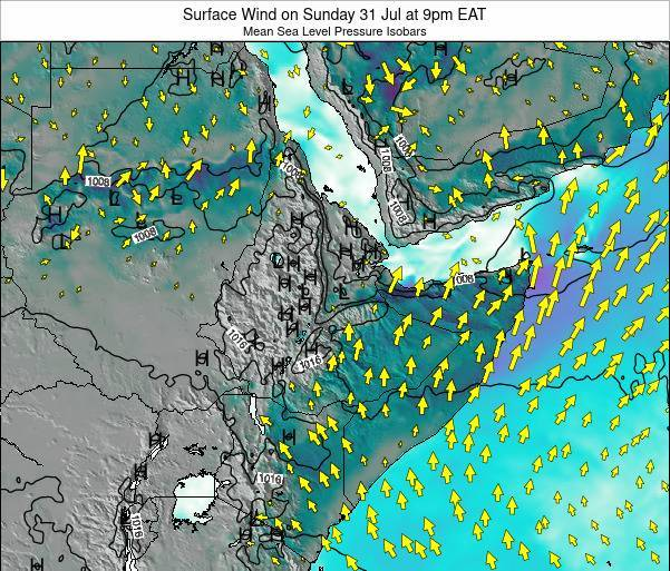 Ethiopia Surface Wind on Wednesday 17 Oct at 9am EAT map