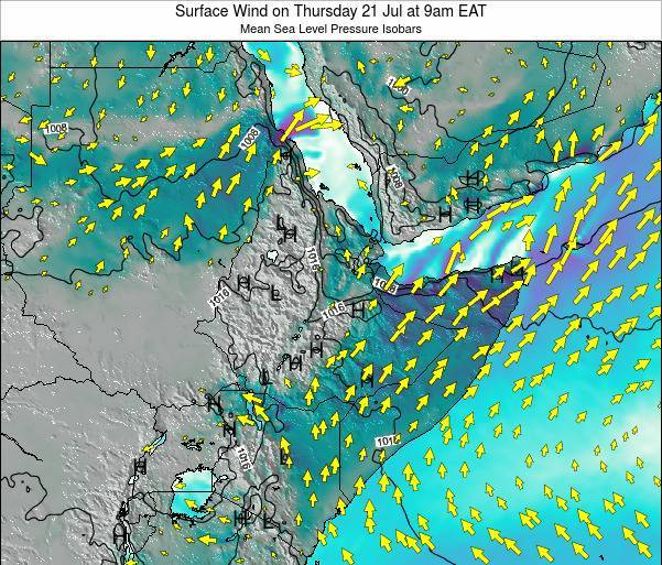 Ethiopia Surface Wind on Monday 27 May at 9pm EAT map