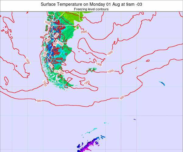 Falkland Islands Surface Temperature on Monday 27 May at 3pm FKST map