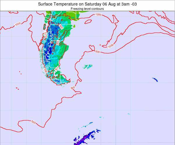 Falkland Islands Surface Temperature on Saturday 25 May at 9pm FKST map