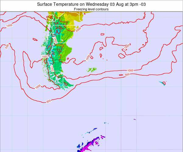 Falkland Islands Surface Temperature on Monday 27 May at 9am FKST map