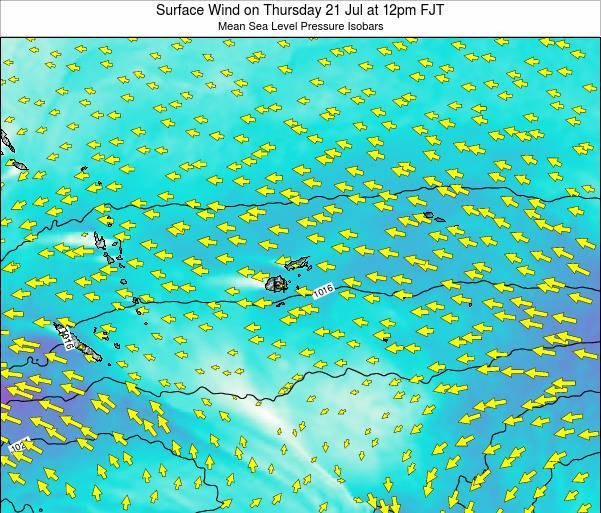 Fiji Surface Wind on Sunday 23 Jun at 12pm FJT