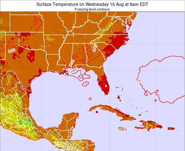 Florida Surface Temperature on Tuesday 10 Dec at 1pm EST map
