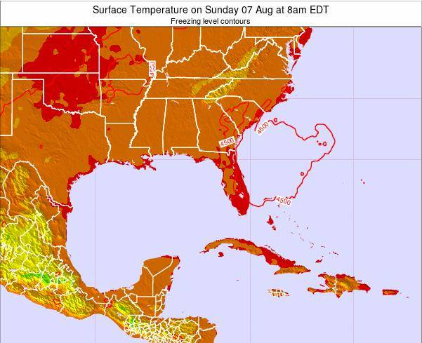 Florida Surface Temperature on Monday 24 Jun at 8am EDT map