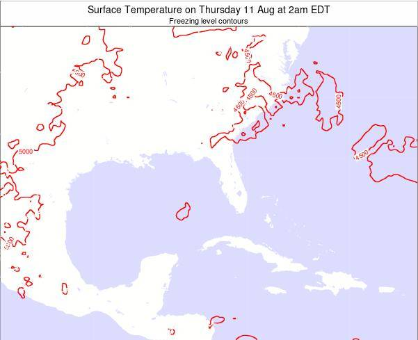 Florida Surface Temperature on Sunday 03 Aug at 8am EDT map