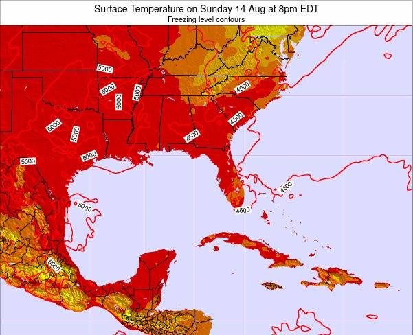 Florida Surface Temperature on Monday 28 Jul at 2am EDT map