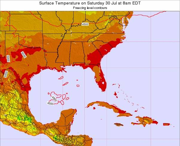 Florida Surface Temperature on Wednesday 12 Mar at 7am EST map