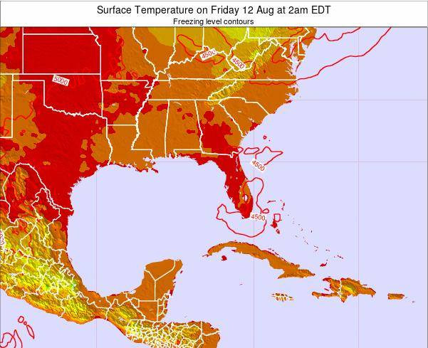 Florida Surface Temperature on Sunday 27 Apr at 2pm EDT map