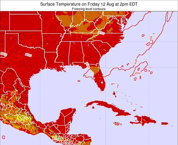 Florida Surface Temperature on Monday 28 Jul at 8pm EDT map
