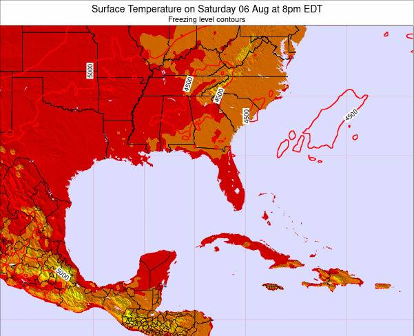 Florida Surface Temperature on Sunday 16 Mar at 8am EDT map