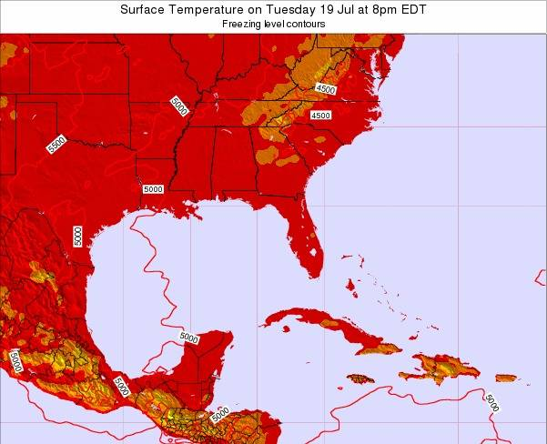 Florida Surface Temperature on Saturday 19 Jan at 1am EST map