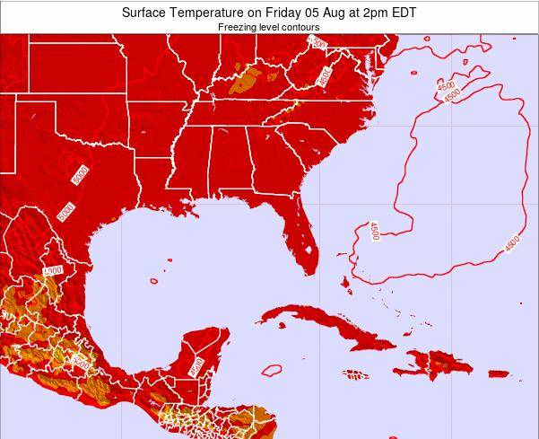 Florida Surface Temperature on Saturday 17 Nov at 7pm EST map