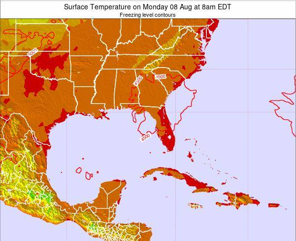 Florida Surface Temperature on Monday 21 Apr at 2pm EDT map