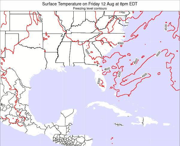 Florida Surface Temperature on Monday 04 Aug at 8pm EDT map