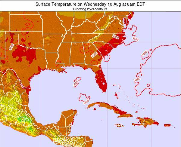 Florida Surface Temperature on Saturday 14 Dec at 1am EST map