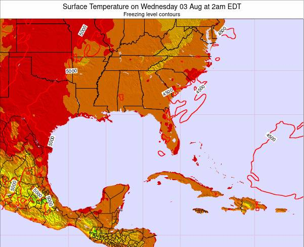 Florida Surface Temperature on Sunday 27 Apr at 2am EDT map