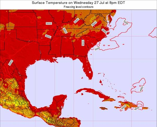 Florida Surface Temperature on Wednesday 12 Mar at 8pm EDT map