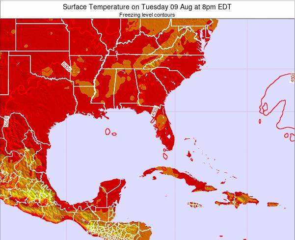 Florida Surface Temperature on Tuesday 29 Jul at 8pm EDT map