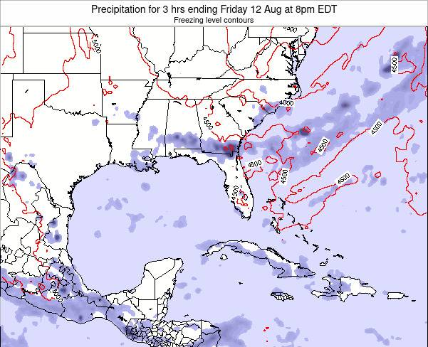 Florida Precipitation for 3 hrs ending Sunday 22 Apr at 8pm EDT map