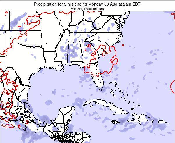 Florida Precipitation for 3 hrs ending Tuesday 05 Aug at 2pm EDT