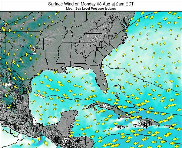 Florida Surface Wind on Wednesday 16 Apr at 2am EDT map