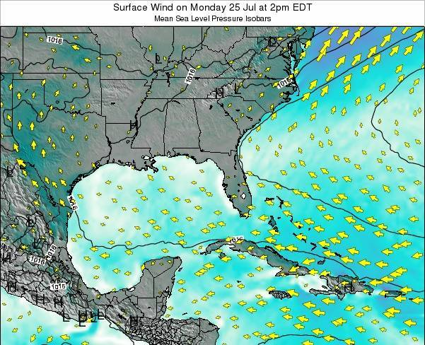 Alabama Surface Wind on Sunday 19 Aug at 8am EDT map