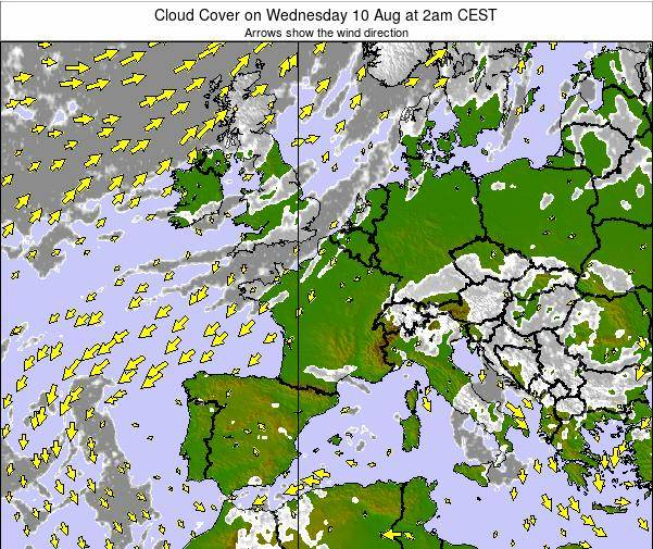 France Cloud Cover on Sunday 26 May at 8pm CEST